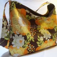 Splashy Rose in pumpkin hobo slouch bag