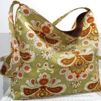 French Wallpaper in Green Slouch Bag